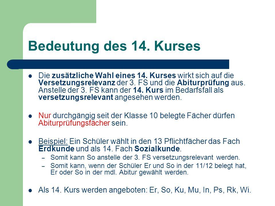 Bedeutung des 14.Kurses Die zusätzliche Wahl eines 14.