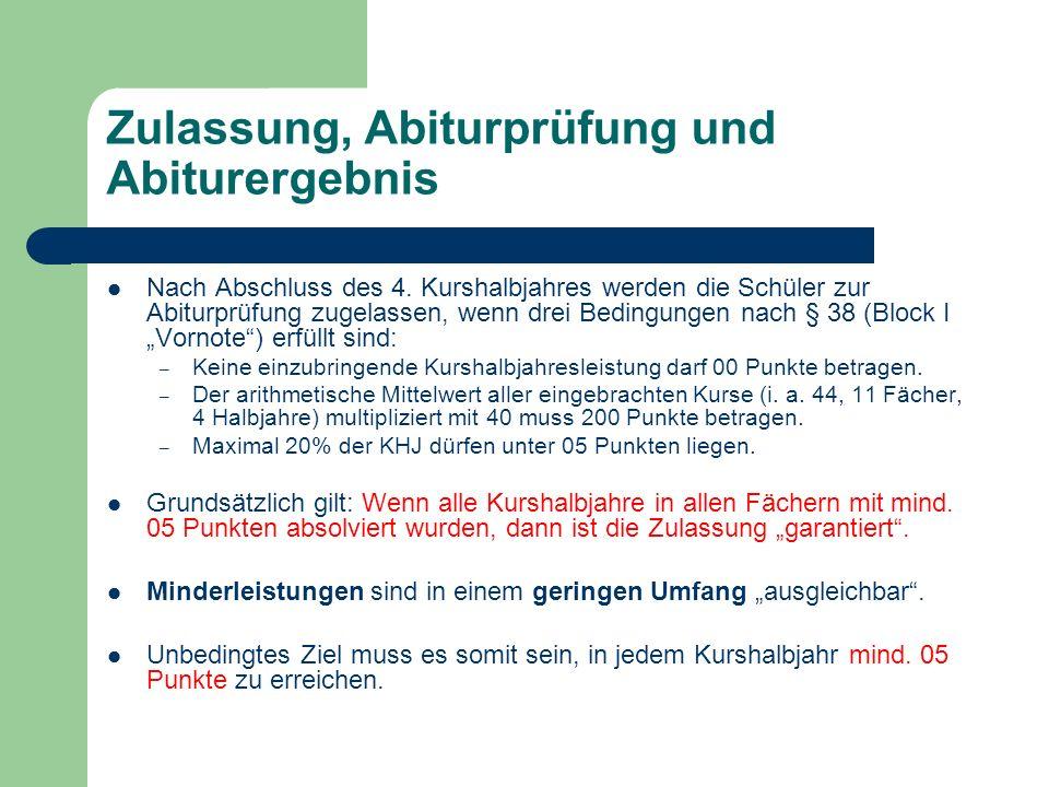 Zulassung, Abiturprüfung und Abiturergebnis Nach Abschluss des 4.