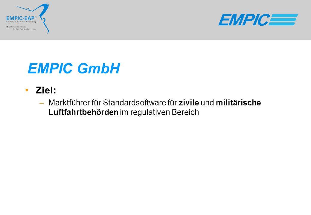 EMPIC GmbH Ziel: –Marktführer für Standardsoftware für zivile und militärische Luftfahrtbehörden im regulativen Bereich