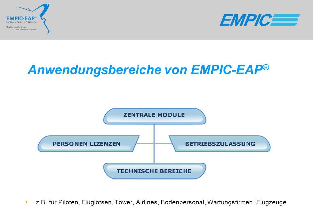 Anwendungsbereiche von EMPIC-EAP ® z.B. für Piloten, Fluglotsen, Tower, Airlines, Bodenpersonal, Wartungsfirmen, Flugzeuge
