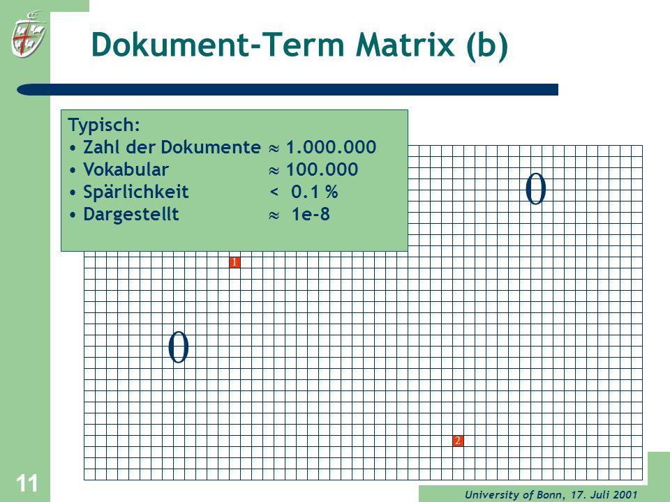 University of Bonn, 17. Juli 2001 11 Dokument-Term Matrix (b) 0 1 0 2 Typisch: Zahl der Dokumente 1.000.000 Vokabular 100.000 Spärlichkeit < 0.1 % Dar