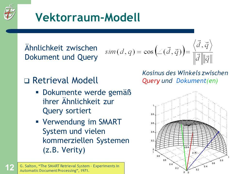 University of Bonn, 17. Juli 2001 12 Ähnlichkeit zwischen Dokument und Query Vektorraum-Modell Retrieval Modell Dokumente werde gemäß ihrer Ähnlichkei