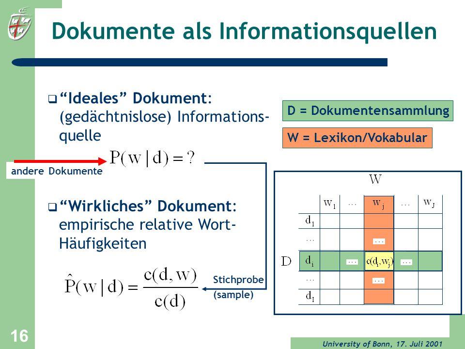 University of Bonn, 17. Juli 2001 16 Dokumente als Informationsquellen Wirkliches Dokument: empirische relative Wort- Häufigkeiten Stichprobe (sample)
