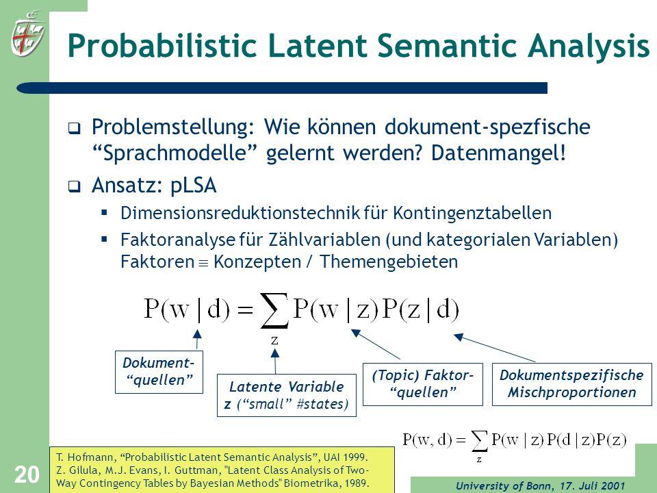University of Bonn, 17. Juli 2001 20 Probabilistic Latent Semantic Analysis Problemstellung: Wie können dokument-spezfische Sprachmodelle gelernt werd