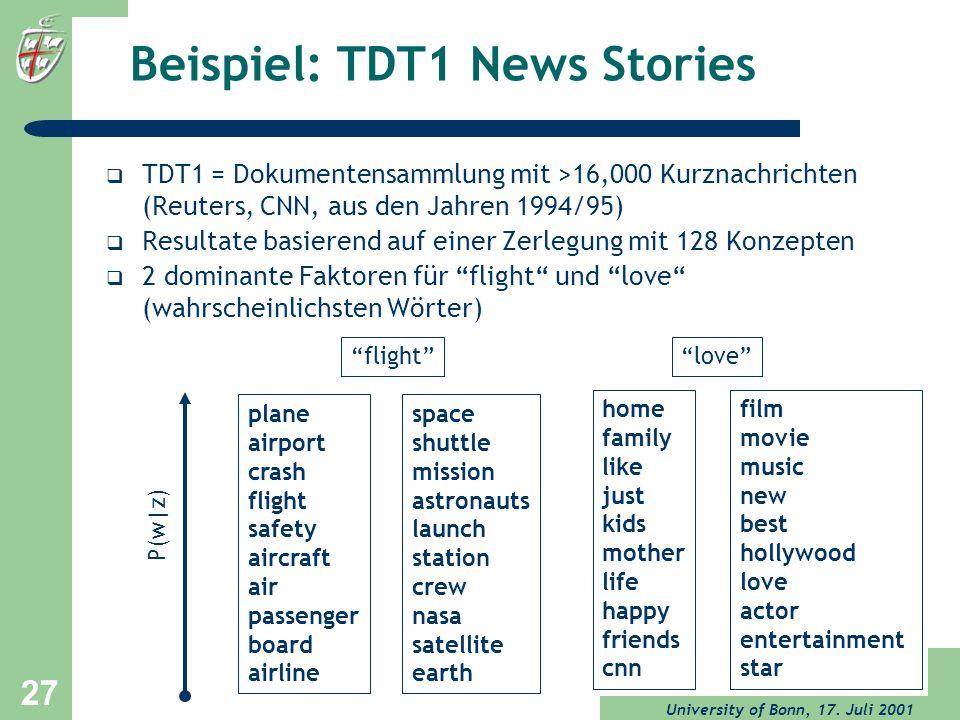 University of Bonn, 17. Juli 2001 27 Beispiel: TDT1 News Stories TDT1 = Dokumentensammlung mit >16,000 Kurznachrichten (Reuters, CNN, aus den Jahren 1