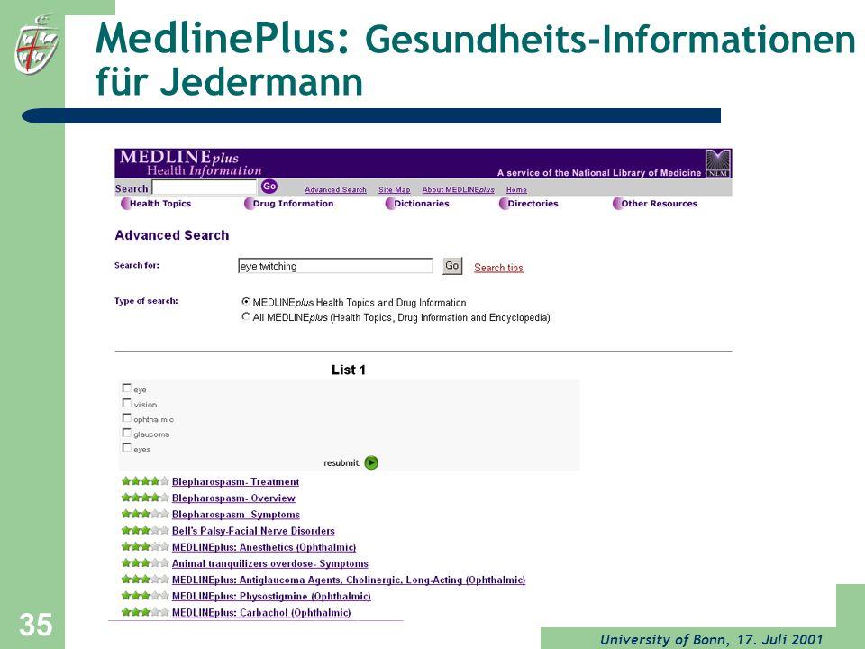 University of Bonn, 17. Juli 2001 35 MedlinePlus: Gesundheits-Informationen für Jedermann