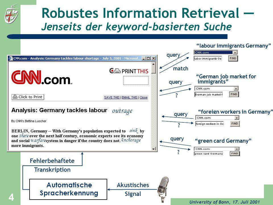 University of Bonn, 17. Juli 2001 4 Robustes Information Retrieval Jenseits der keyword-basierten Suche labour immigrants Germany query match German j