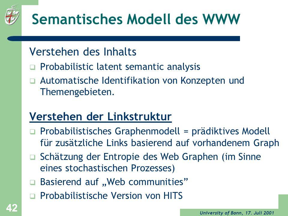 University of Bonn, 17. Juli 2001 42 Semantisches Modell des WWW Verstehen des Inhalts Probabilistic latent semantic analysis Automatische Identifikat