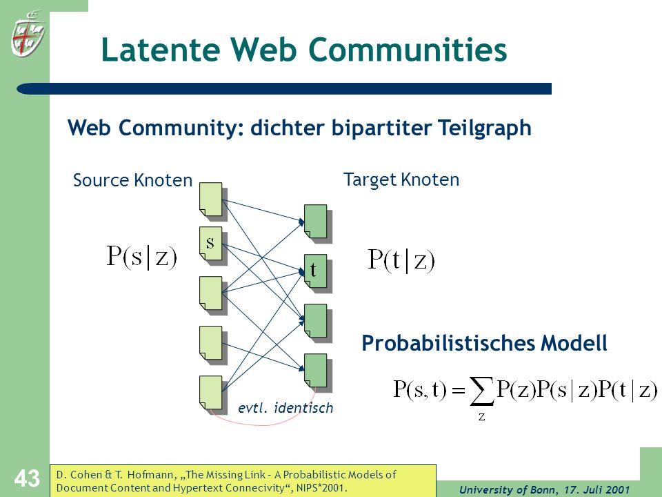 University of Bonn, 17. Juli 2001 43 Latente Web Communities Probabilistisches Modell Source Knoten Target Knoten evtl. identisch Web Community: dicht