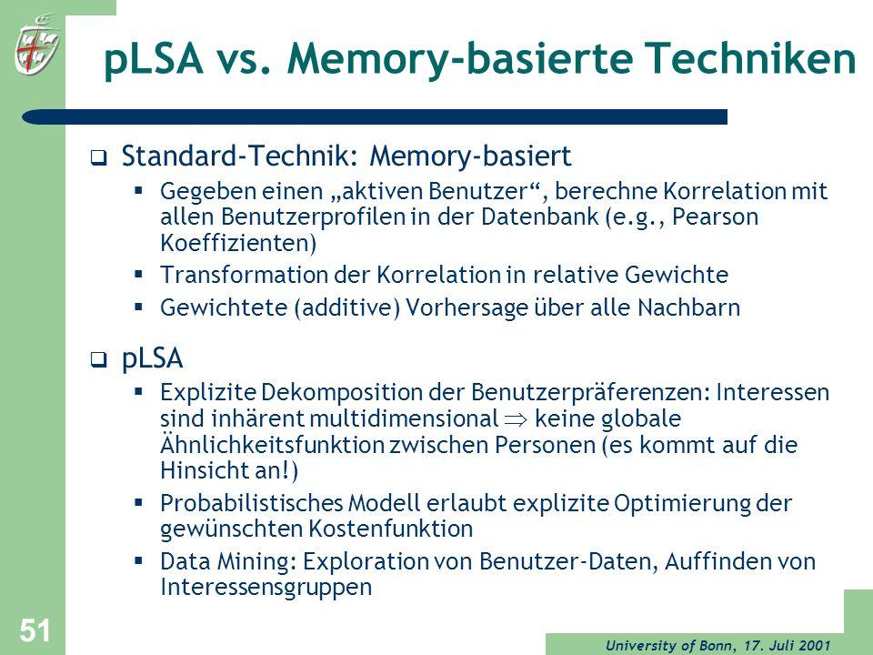 University of Bonn, 17. Juli 2001 51 pLSA vs. Memory-basierte Techniken Standard-Technik: Memory-basiert Gegeben einen aktiven Benutzer, berechne Korr