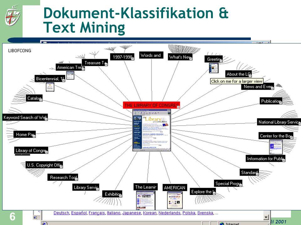 University of Bonn, 17. Juli 2001 6 Dokument-Klassifikation & Text Mining Visualisierung von Taxonomien © Inxight Generierung & Wartung von Taxonomien