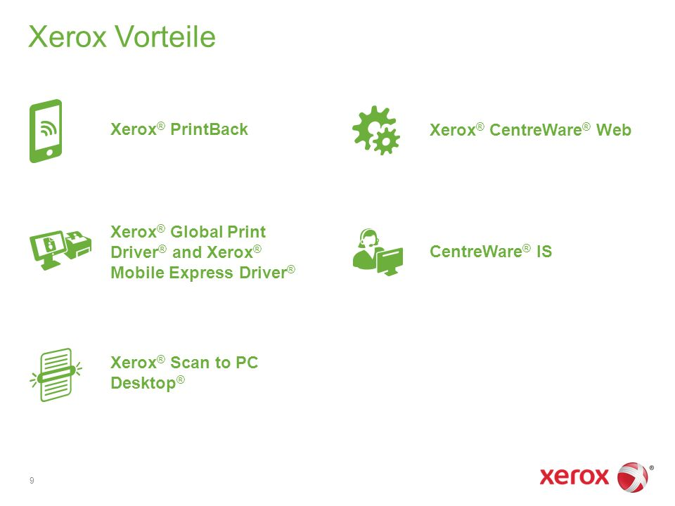 Xerox Vorteile 9 Xerox ® Global Print Driver ® and Xerox ® Mobile Express Driver ® Xerox ® Scan to PC Desktop ® CentreWare ® IS Xerox ® CentreWare ® Web Xerox ® PrintBack