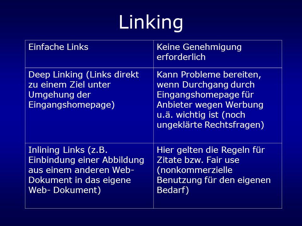 Linking Einfache LinksKeine Genehmigung erforderlich Deep Linking (Links direkt zu einem Ziel unter Umgehung der Eingangshomepage) Kann Probleme bereiten, wenn Durchgang durch Eingangshomepage für Anbieter wegen Werbung u.ä.