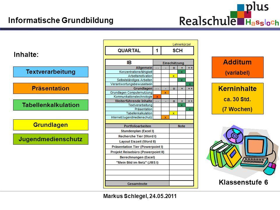 Markus Schlegel, 24.05.2011 Informatische Grundbildung Kerninhalte ca. 30 Std. (7 Wochen) Additum (variabel) Textverarbeitung Präsentation Tabellenkal