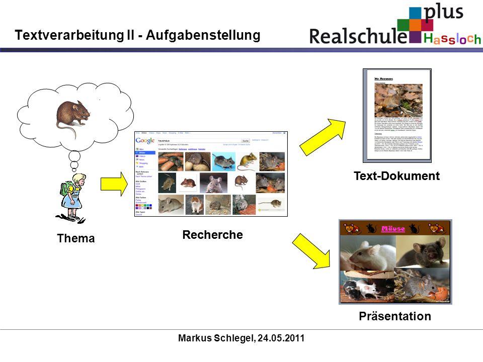 Markus Schlegel, 24.05.2011 Textverarbeitung II - Aufgabenstellung Thema Recherche Text-Dokument Präsentation Recherche Text-Dokument