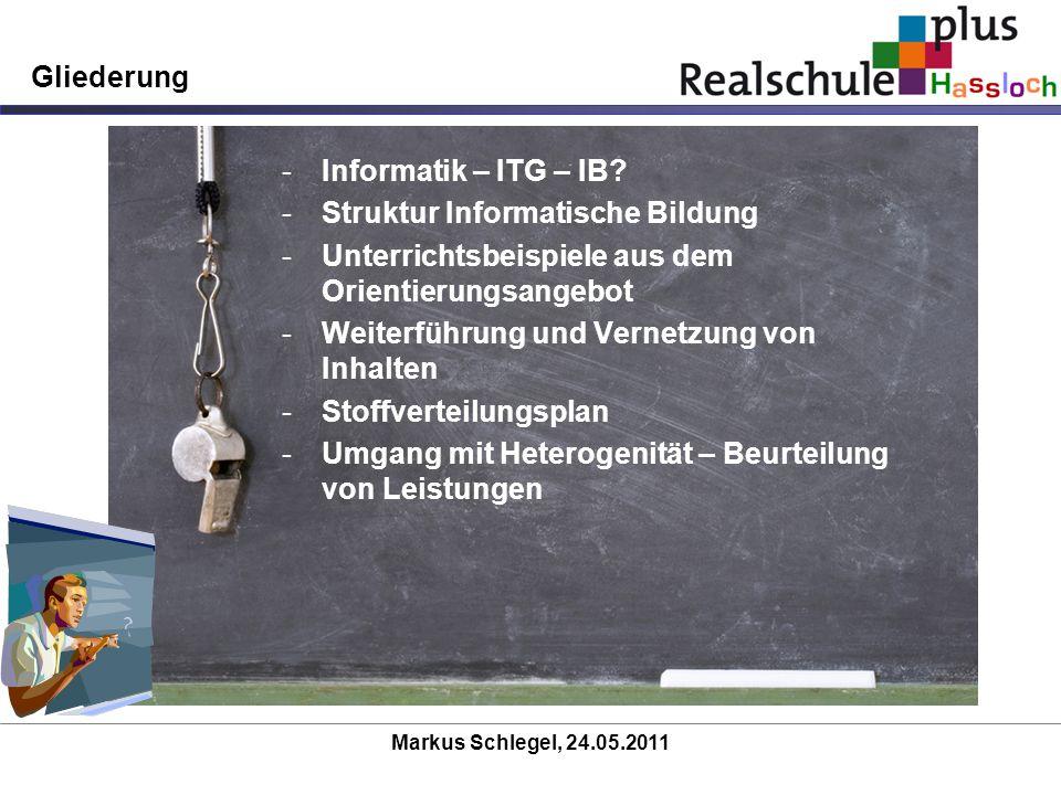 Gliederung -Informatik – ITG – IB? -Struktur Informatische Bildung -Unterrichtsbeispiele aus dem Orientierungsangebot -Weiterführung und Vernetzung vo