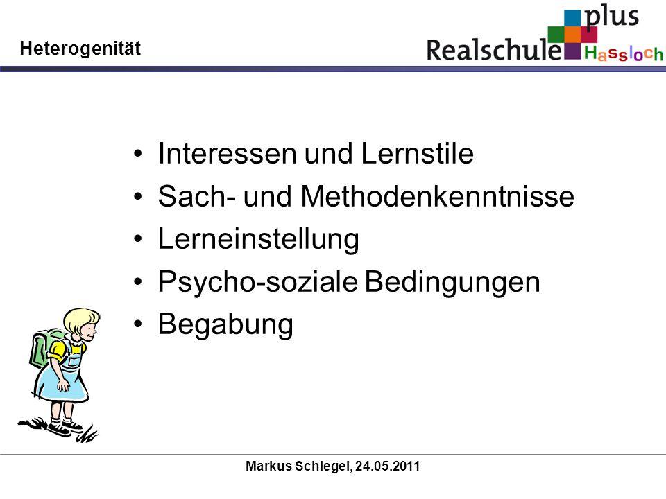 Markus Schlegel, 24.05.2011 Heterogenität Interessen und Lernstile Sach- und Methodenkenntnisse Lerneinstellung Psycho-soziale Bedingungen Begabung