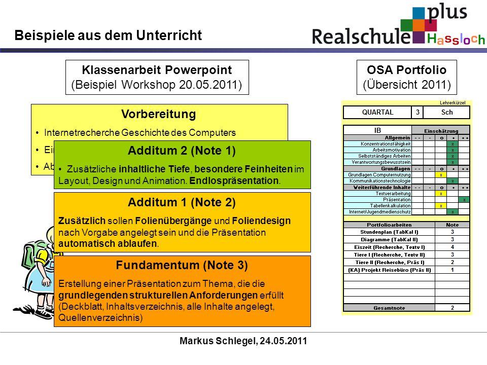Markus Schlegel, 24.05.2011 Beispiele aus dem Unterricht Klassenarbeit Powerpoint (Beispiel Workshop 20.05.2011) OSA Portfolio (Übersicht 2011) Vorber