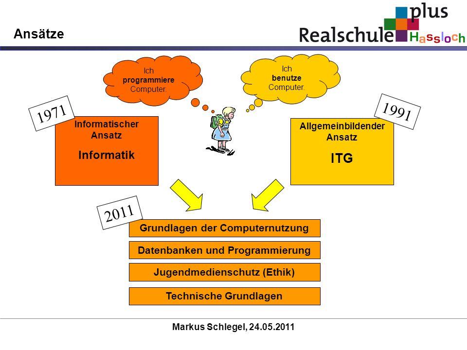 Markus Schlegel, 24.05.2011 Ansätze Allgemeinbildender Ansatz ITG Informatischer Ansatz Informatik 1971 1991 Ich programmiere Computer. Ich benutze Co