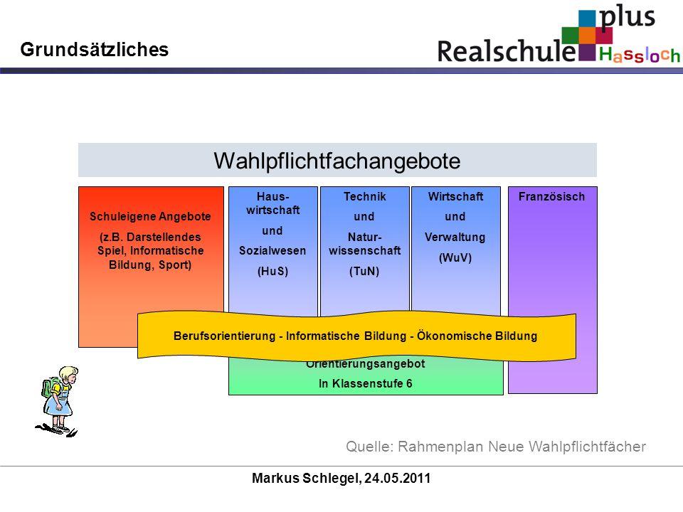 Markus Schlegel, 24.05.2011 Grundsätzliches Quelle: Rahmenplan Neue Wahlpflichtfächer Wahlpflichtfachangebote Schuleigene Angebote (z.B. Darstellendes