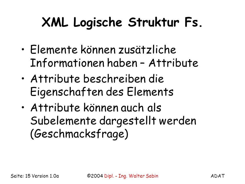 ADAT©2004 Dipl. - Ing. Walter SabinSeite: 15 Version 1.0a XML Logische Struktur Fs.