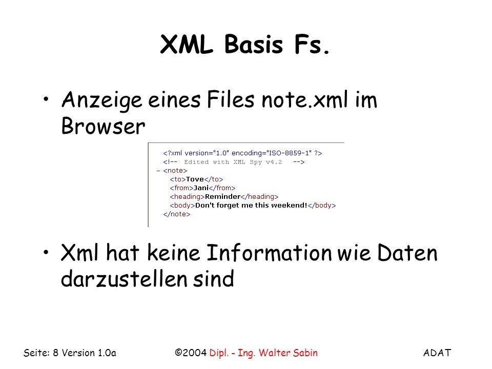 ADAT©2004 Dipl. - Ing. Walter SabinSeite: 8 Version 1.0a XML Basis Fs.