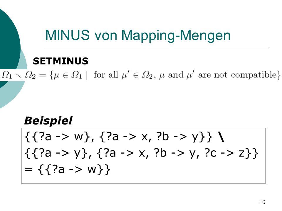 MINUS von Mapping-Mengen SETMINUS {{ a -> w}, { a -> x, b -> y}} \ {{ a -> y}, { a -> x, b -> y, c -> z}} = {{ a -> w}} Beispiel 16