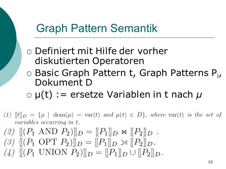 Graph Pattern Semantik Definiert mit Hilfe der vorher diskutierten Operatoren Basic Graph Pattern t, Graph Patterns P i, Dokument D μ(t) := ersetze Variablen in t nach μ 18