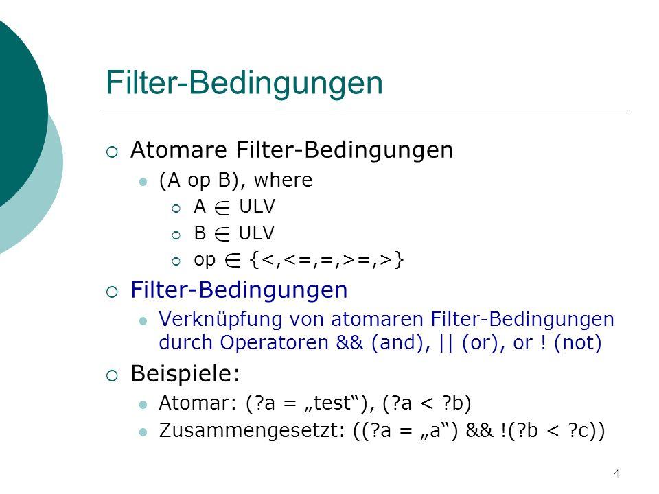 Filter-Bedingungen Atomare Filter-Bedingungen (A op B), where A ULV B ULV op { =,>} Filter-Bedingungen Verknüpfung von atomaren Filter-Bedingungen durch Operatoren && (and), || (or), or .