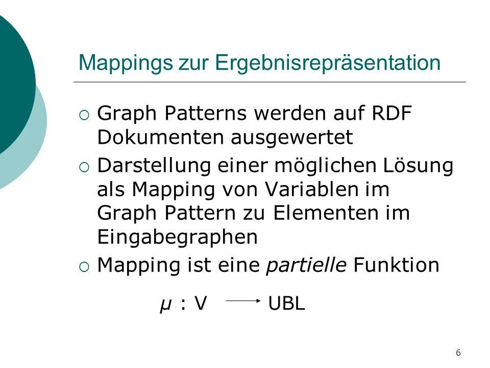 Mappings zur Ergebnisrepräsentation Graph Patterns werden auf RDF Dokumenten ausgewertet Darstellung einer möglichen Lösung als Mapping von Variablen im Graph Pattern zu Elementen im Eingabegraphen Mapping ist eine partielle Funktion μ : V UBL 6