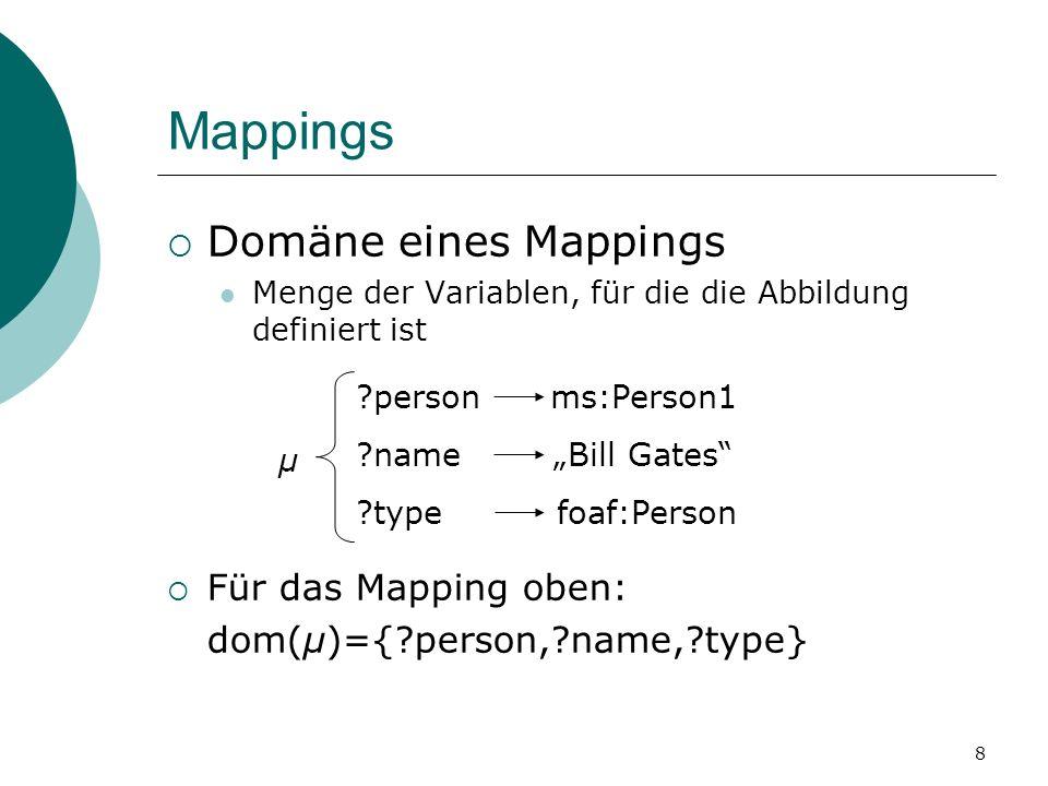 Mappings Domäne eines Mappings Menge der Variablen, für die die Abbildung definiert ist Für das Mapping oben: dom(μ)={ person, name, type} person ms:Person1 name Bill Gates type foaf:Person μ 8