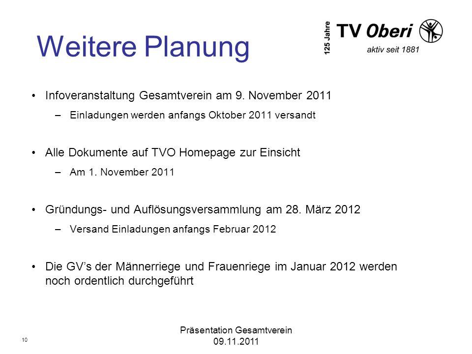 Präsentation Gesamtverein 09.11.2011 Weitere Planung Infoveranstaltung Gesamtverein am 9. November 2011 –Einladungen werden anfangs Oktober 2011 versa
