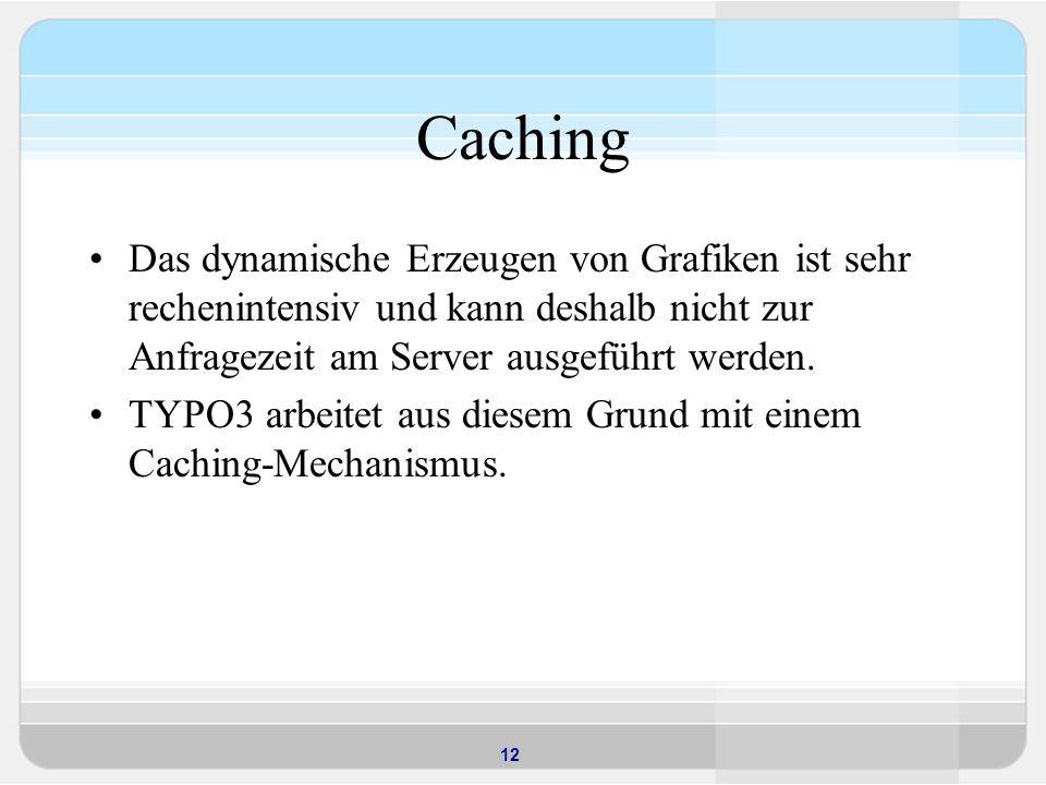 12 Caching Das dynamische Erzeugen von Grafiken ist sehr rechenintensiv und kann deshalb nicht zur Anfragezeit am Server ausgeführt werden.