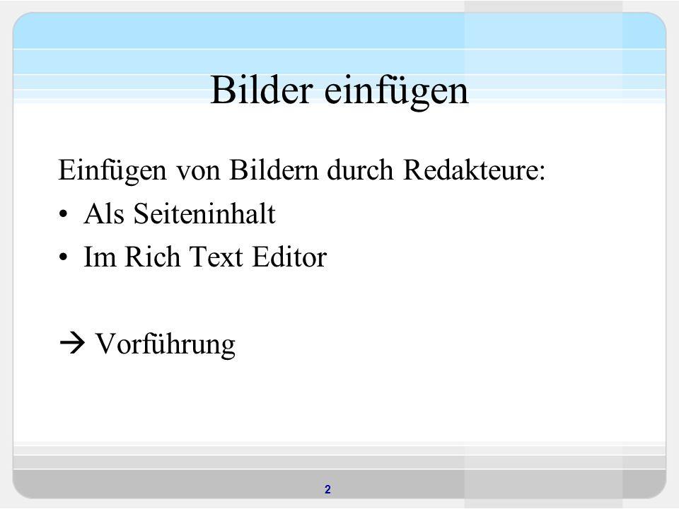 2 Bilder einfügen Einfügen von Bildern durch Redakteure: Als Seiteninhalt Im Rich Text Editor Vorführung