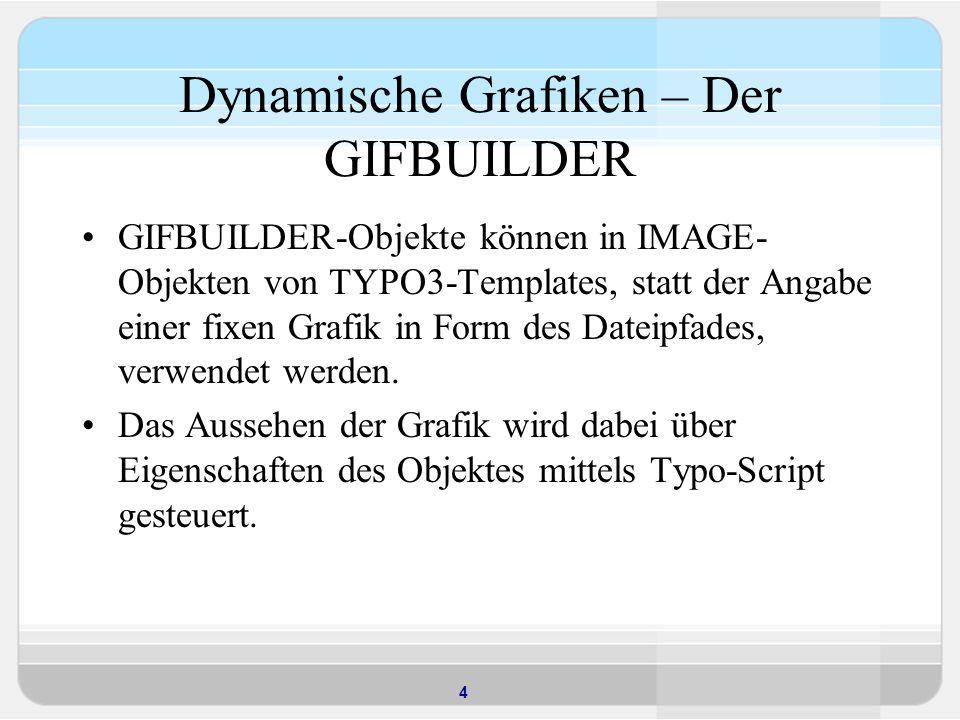5 Beispiel Titel als Bild seite = PAGE seite.typeNum = 0 seite.10 = IMAGE seite.10.file = GIFBUILDER seite.10.file { XY = [5.w], [5.h] 5 = IMAGE 5.file = fileadmin/hintergrund.jpg 10 = TEXT 10.text.field = title 10.offset = 10, 40 10.fontFile = fileadmin/verdana.ttf 10.fontSize = 18 }