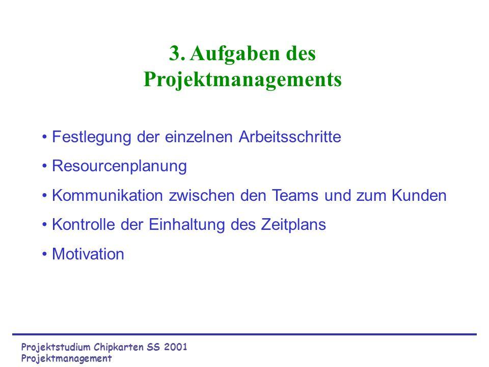 Projektstudium Chipkarten SS 2001 Projektmanagement 3. Aufgaben des Projektmanagements Festlegung der einzelnen Arbeitsschritte Resourcenplanung Kommu