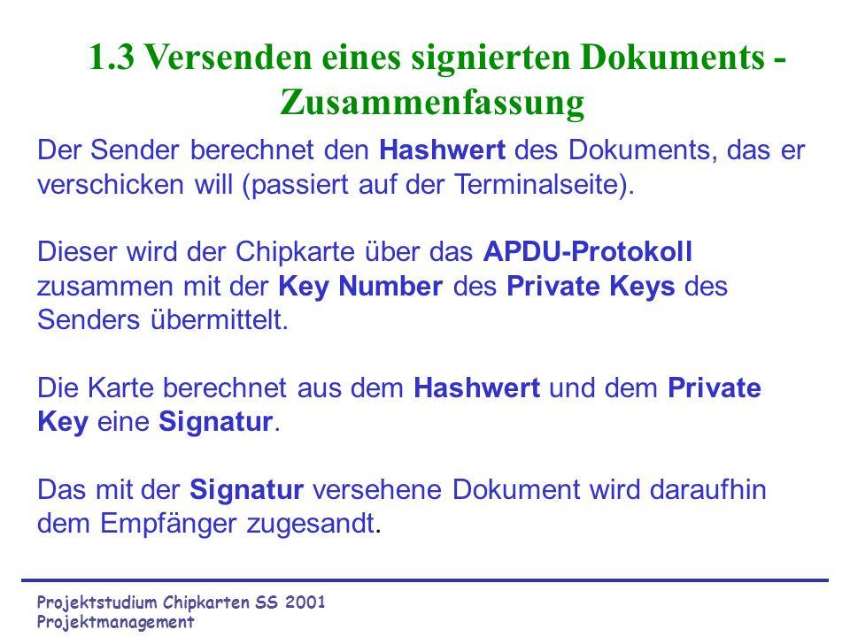 1.3 Versenden eines signierten Dokuments - Zusammenfassung Der Sender berechnet den Hashwert des Dokuments, das er verschicken will (passiert auf der