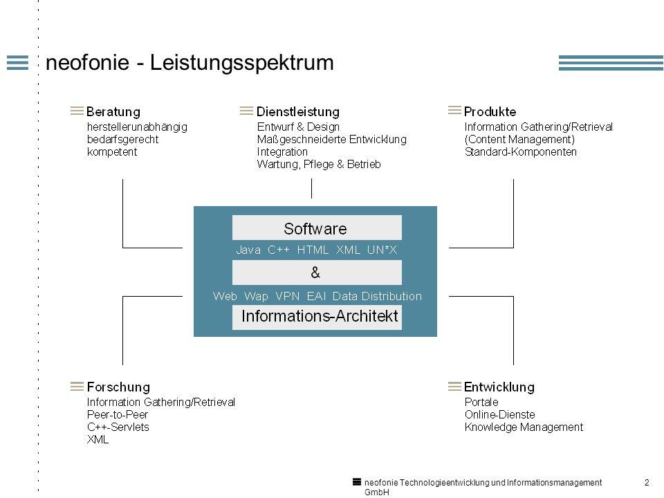 2 neofonie Technologieentwicklung und Informationsmanagement GmbH neofonie - Leistungsspektrum