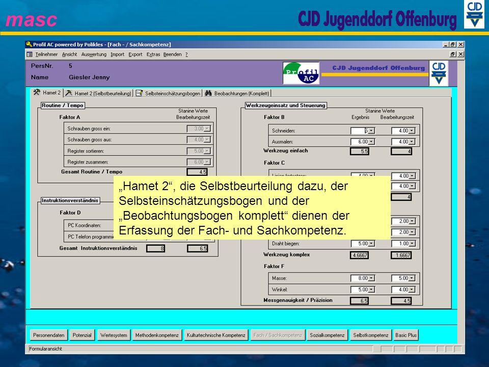 masc Hamet 2, die Selbstbeurteilung dazu, der Selbsteinschätzungsbogen und der Beobachtungsbogen komplett dienen der Erfassung der Fach- und Sachkompe