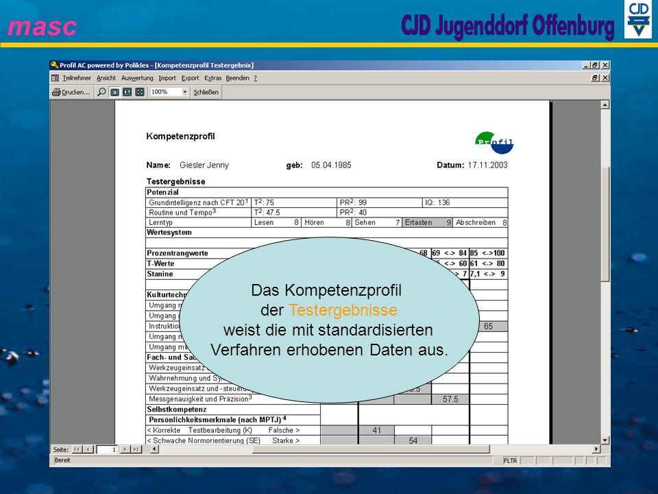 masc Das Kompetenzprofil der Testergebnisse weist die mit standardisierten Verfahren erhobenen Daten aus.