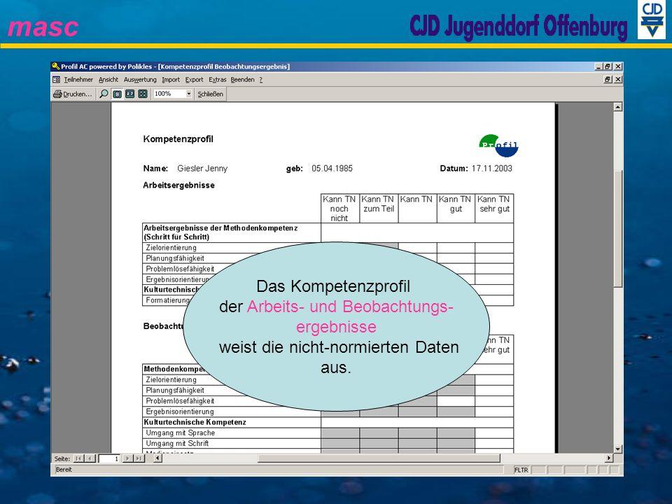 masc Das Kompetenzprofil der Arbeits- und Beobachtungs- ergebnisse weist die nicht-normierten Daten aus.