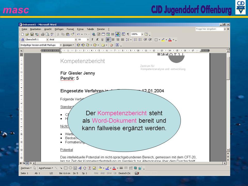 masc Der Kompetenzbericht steht als Word-Dokument bereit und kann fallweise ergänzt werden.