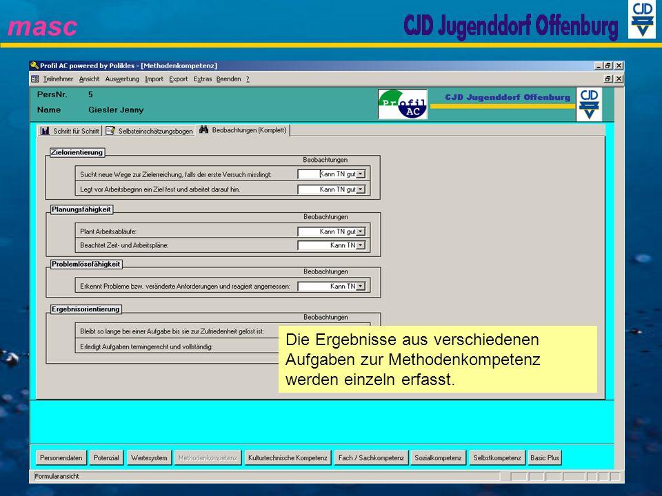 masc Eintritt Abklärungen Kulturtechnische Kompetenz Durchführung der Verfahren für die Module Potenzial Wertesystem Methodenkompetenz