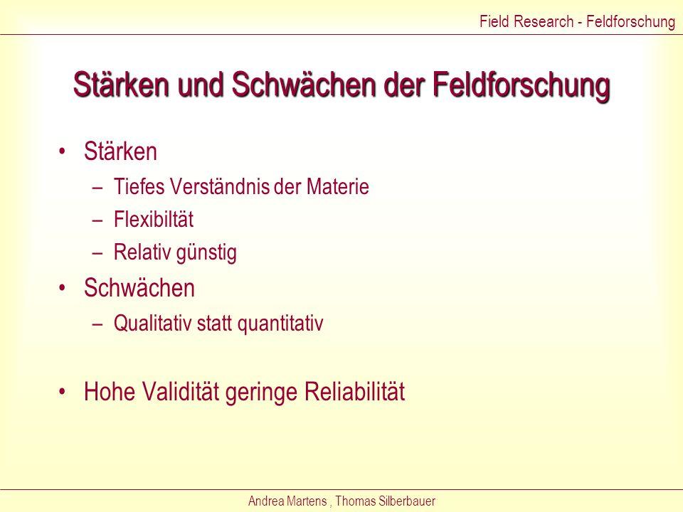 Andrea Martens, Thomas Silberbauer Problem der Reliabilität 1.