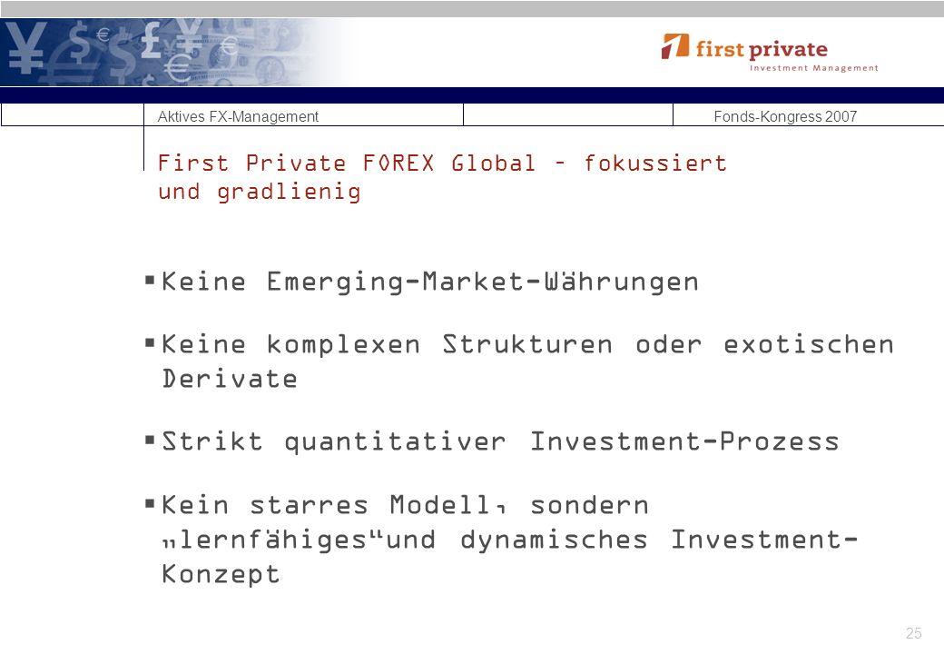 Aktives FX-Management Fonds-Kongress 2007 25 First Private FOREX Global – fokussiert und gradlienig Keine Emerging-Market-Währungen Keine komplexen Strukturen oder exotischen Derivate Strikt quantitativer Investment-Prozess Kein starres Modell, sondern lernfähigesund dynamisches Investment- Konzept