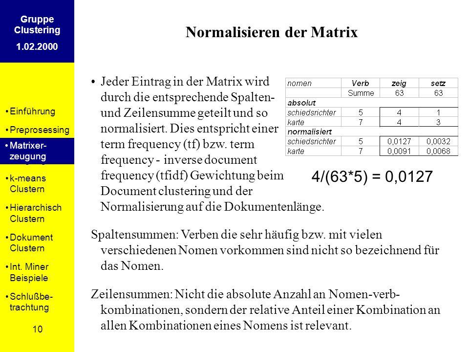 Einführung Preprosessing Matrixer- zeugung k-means Clustern Hierarchisch Clustern Dokument Clustern Int. Miner Beispiele Schlußbe- trachtung 10 Gruppe