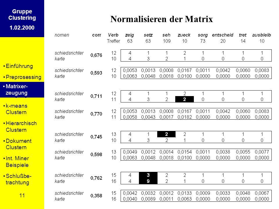 Einführung Preprosessing Matrixer- zeugung k-means Clustern Hierarchisch Clustern Dokument Clustern Int. Miner Beispiele Schlußbe- trachtung 11 Gruppe