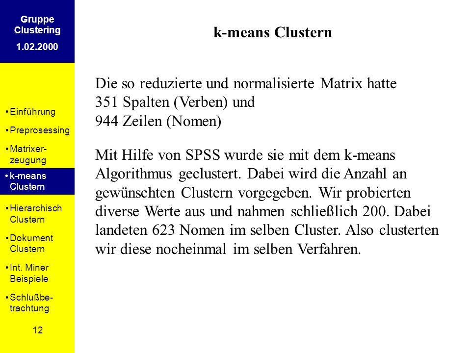 Einführung Preprosessing Matrixer- zeugung k-means Clustern Hierarchisch Clustern Dokument Clustern Int. Miner Beispiele Schlußbe- trachtung 12 Gruppe