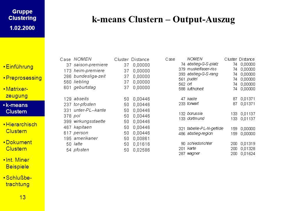 Einführung Preprosessing Matrixer- zeugung k-means Clustern Hierarchisch Clustern Dokument Clustern Int. Miner Beispiele Schlußbe- trachtung 13 Gruppe