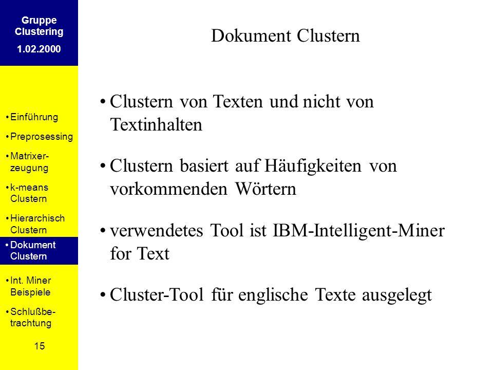 Einführung Preprosessing Matrixer- zeugung k-means Clustern Hierarchisch Clustern Dokument Clustern Int. Miner Beispiele Schlußbe- trachtung 15 Gruppe